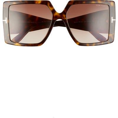 Tom Ford Quinn 57mm Gradient Square Sunglasses - Havana/ Brown