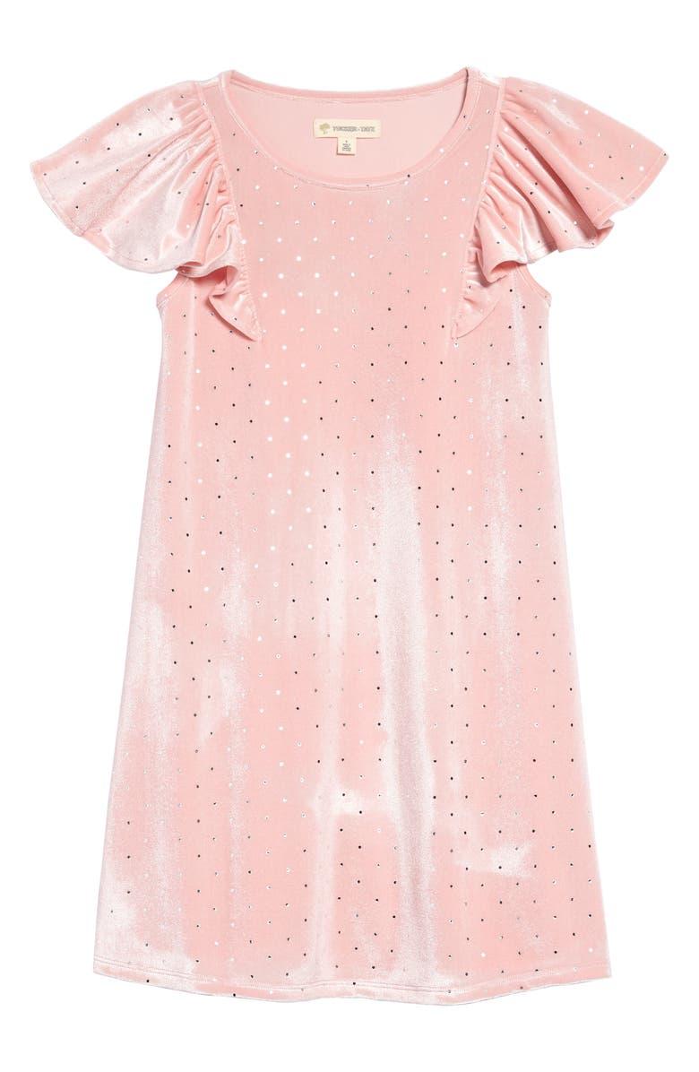 TUCKER + TATE Pretty Velvet Flutter Sleeve Swing Dress, Main, color, PINK BRIDE- SILVER DOT