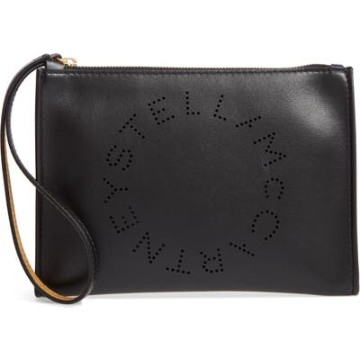 Stella Mccartney Perforated Logo Alter Nappa Faux Leather Pouch - Black