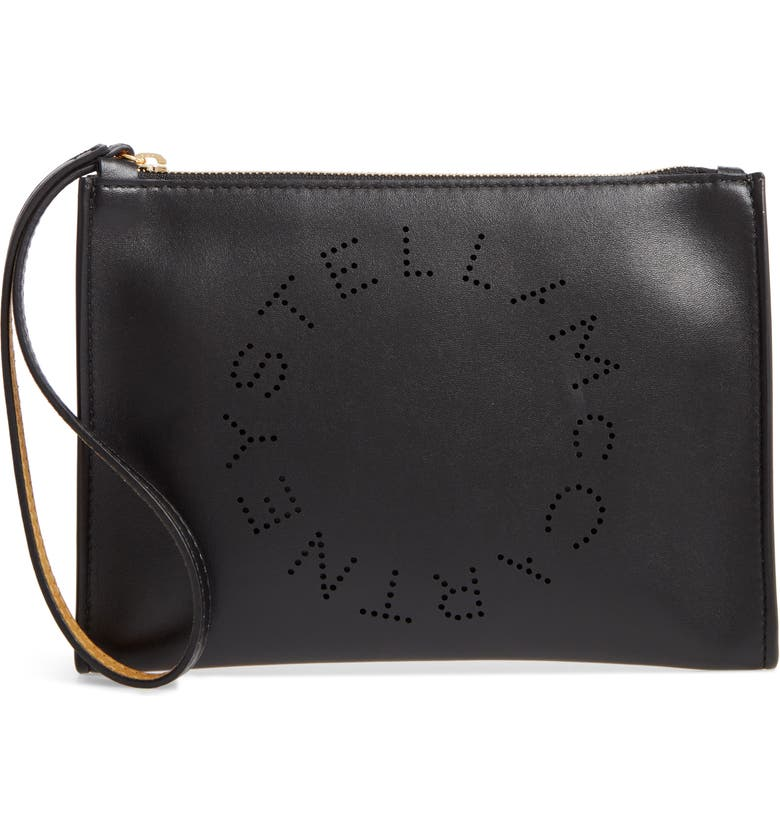 STELLA MCCARTNEY Perforated Logo Alter Nappa Faux Leather Pouch, Main, color, BLACK