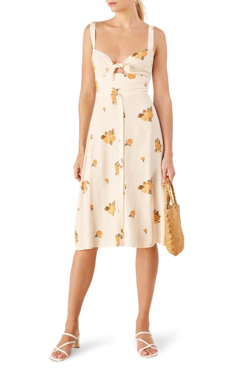 REFORMATION Frankfort Tie Bodice Dress, Main, color, 700