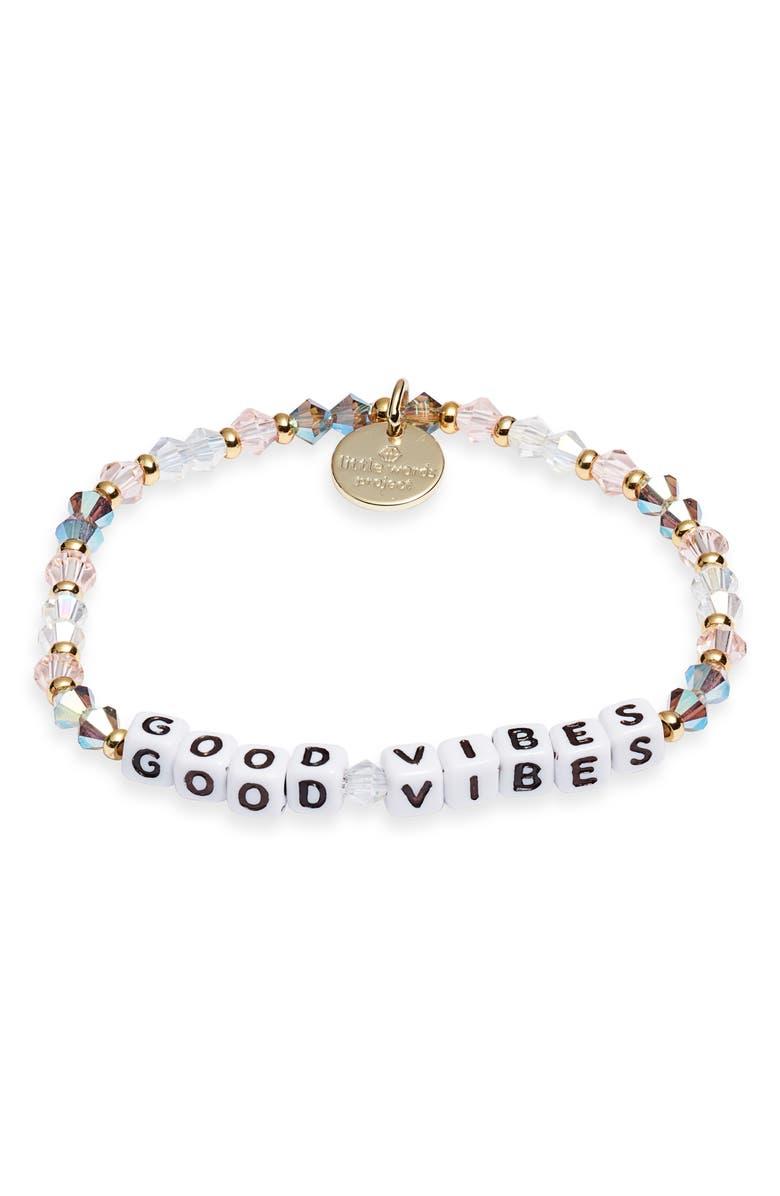 LITTLE WORDS PROJECT Good Vibes Bracelet, Main, color, ARROW WHITE