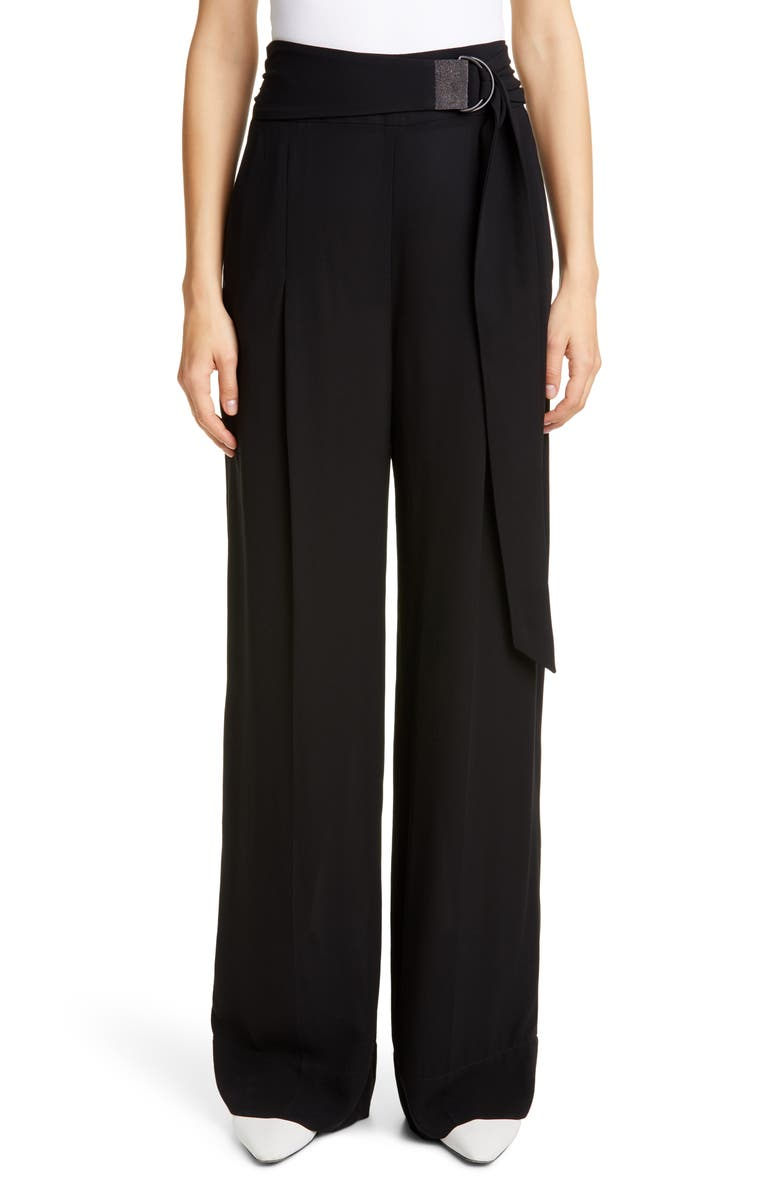 BRUNELLO CUCINELLI Monili Belt Wide Leg Silk Pants, Main, color, BLACK