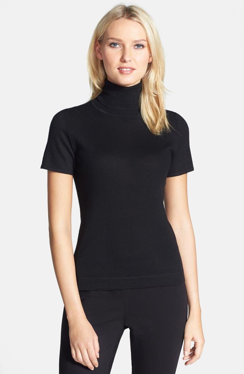 CLASSIQUES ENTIER<SUP>®</SUP> Short Sleeve Cashmere Turtleneck Sweater, Main, color, 001