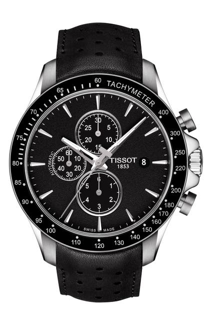 Image of Tissot Men's V8 Automatic Chronograph Leather Strap Watch, 45mm