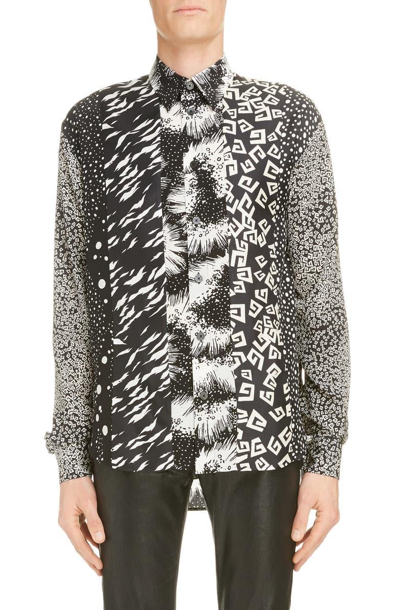 GIVENCHY Loose Fit Patchwork Print Silk Shirt, Main, color, ECRU/ BLACK