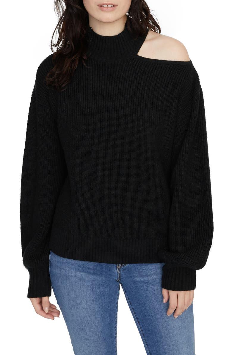 SANCTUARY Go All Cutout Sweater, Main, color, BLACK
