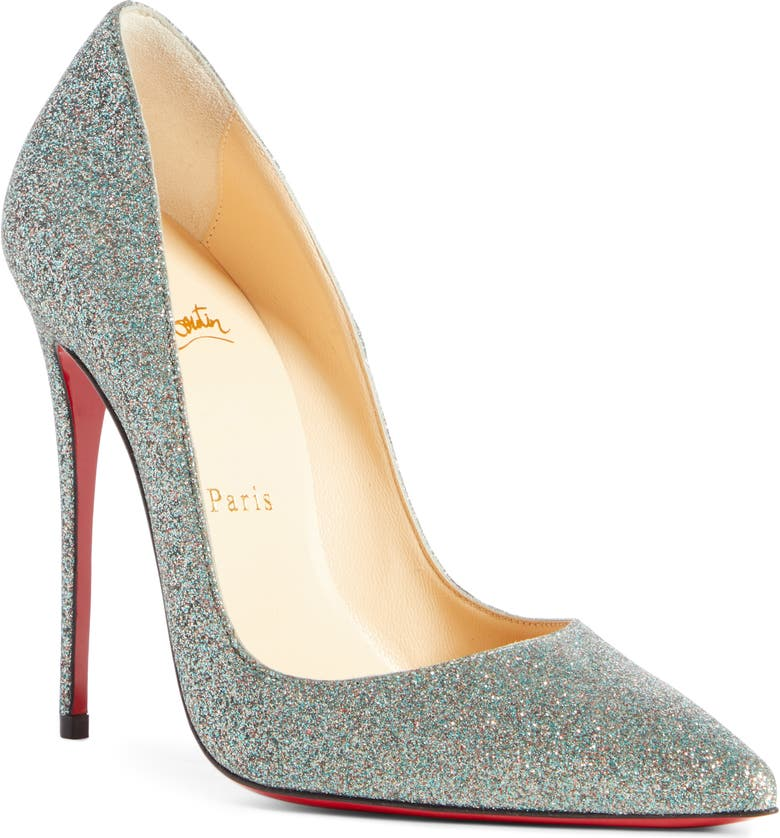 CHRISTIAN LOUBOUTIN So Kate Glitter Pointy Toe Pump, Main, color, VOSGES GREEN