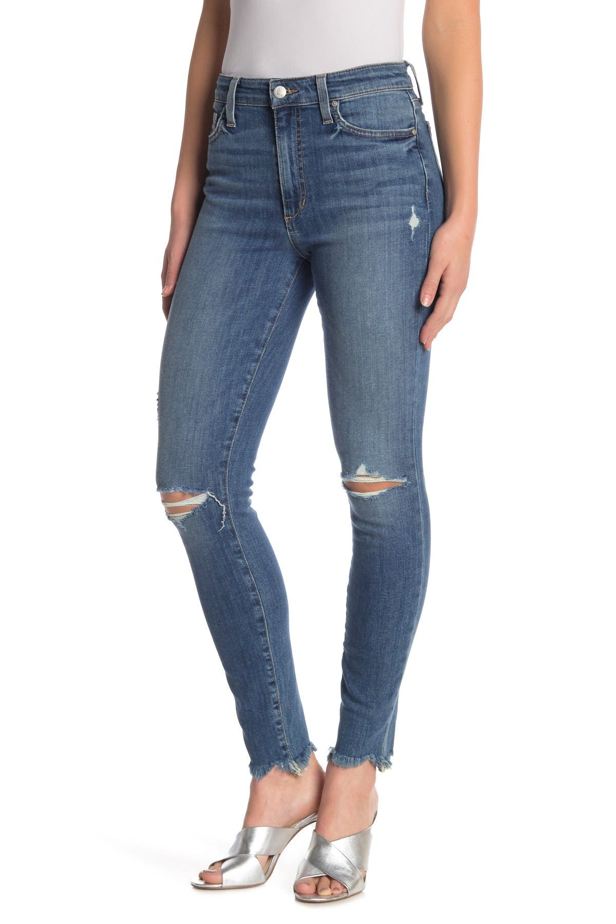 Image of Joe's Jeans Charlie Hi-Rise Ripped Knee Jeans