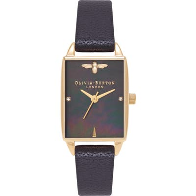 Olivia Burton Beehive Leather Strap Watch, 20Mm