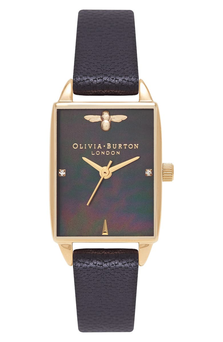 Olivia Burton Beehive Leather Strap Watch 20mm