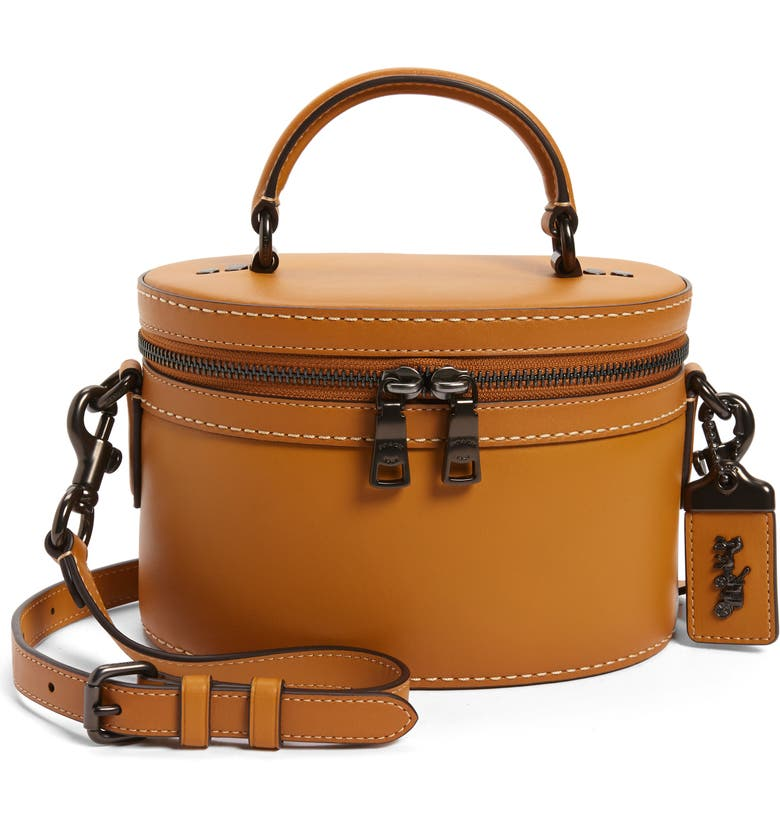 COACH Trail Leather Crossbody Bag, Main, color, MUSTARD