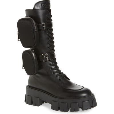 Prada Monolith Mini Bag Knee High Boot, Black