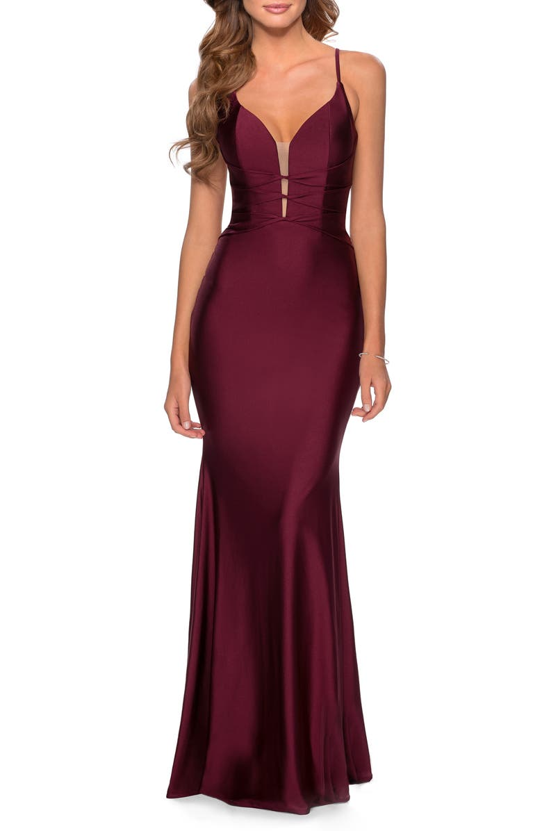 LA FEMME Triple Twist Detail Satin Jersey Trumpet Gown, Main, color, DARK BERRY