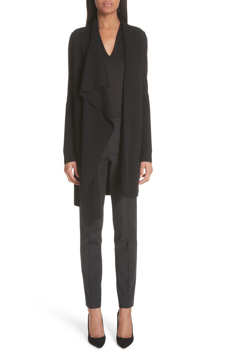 AKRIS Long Sleeve Silk Jersey Blouse, Main, color, BLACK