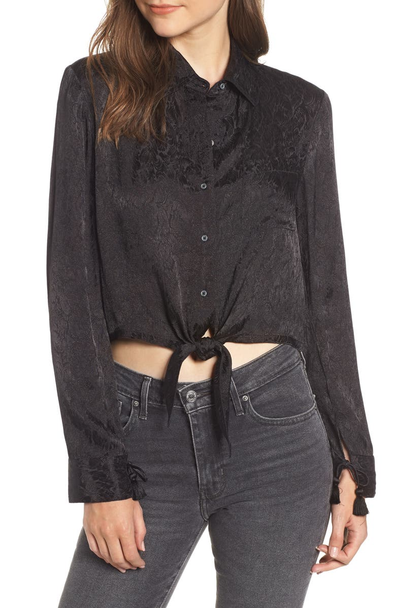 HUDSON JEANS Embroidered Button Tie Blouse, Main, color, 001