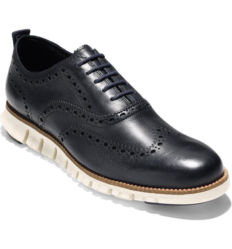 COLE HAAN ZeroGrand Wingtip Derby, Main, color, BLAZER BLUE LEATHER/ IVORY