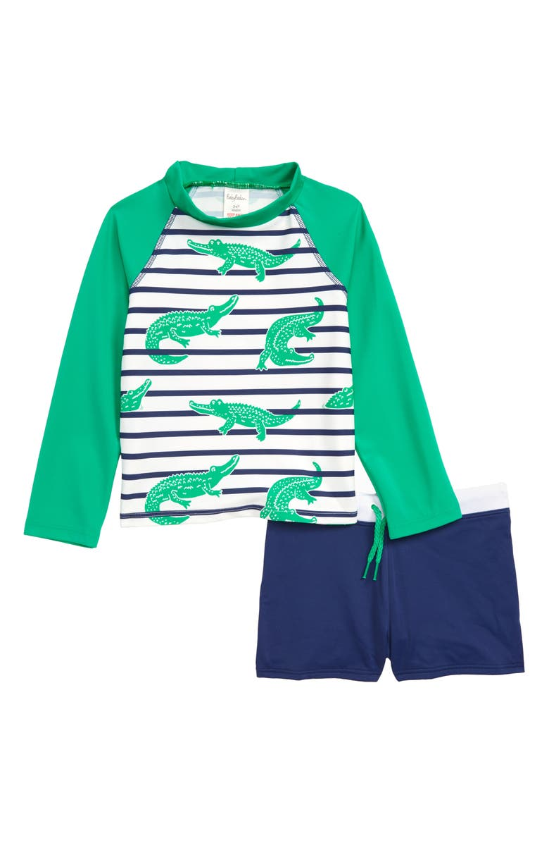 MINI BODEN Crocodile Two-Piece Rashguard Swimsuit, Main, color, 410