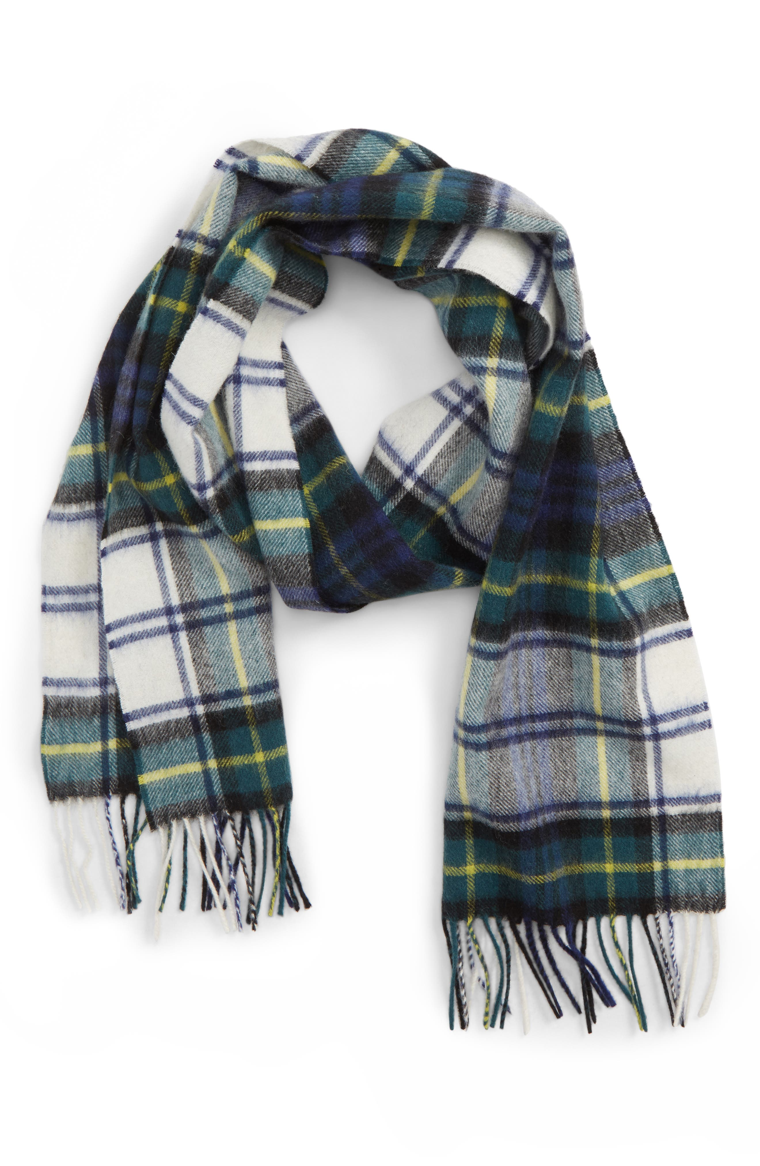 ,                             New Check Lambswool & Cashmere Scarf,                             Main thumbnail 1, color,                             400