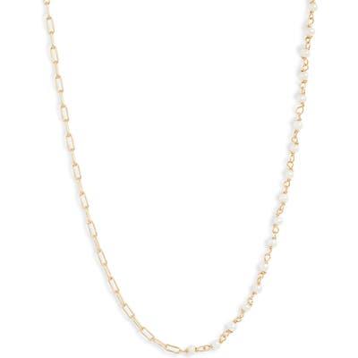 Argento Vivo Half Pearl Station Necklace