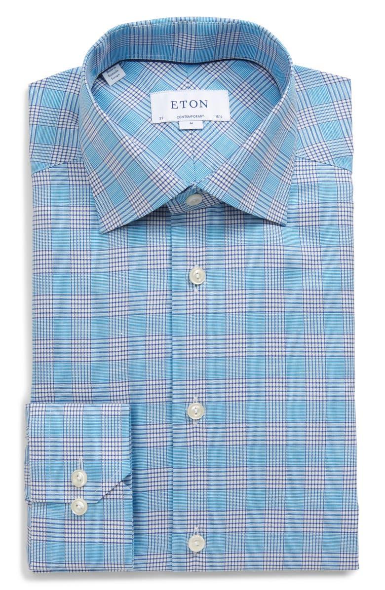 ETON Contemporary Fit Plaid Cotton & Linen Dress Shirt, Main, color, 300
