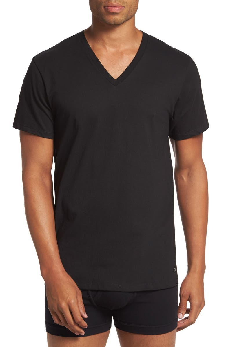 CALVIN KLEIN 2-Pack Cotton T-Shirt, Main, color, BLACK