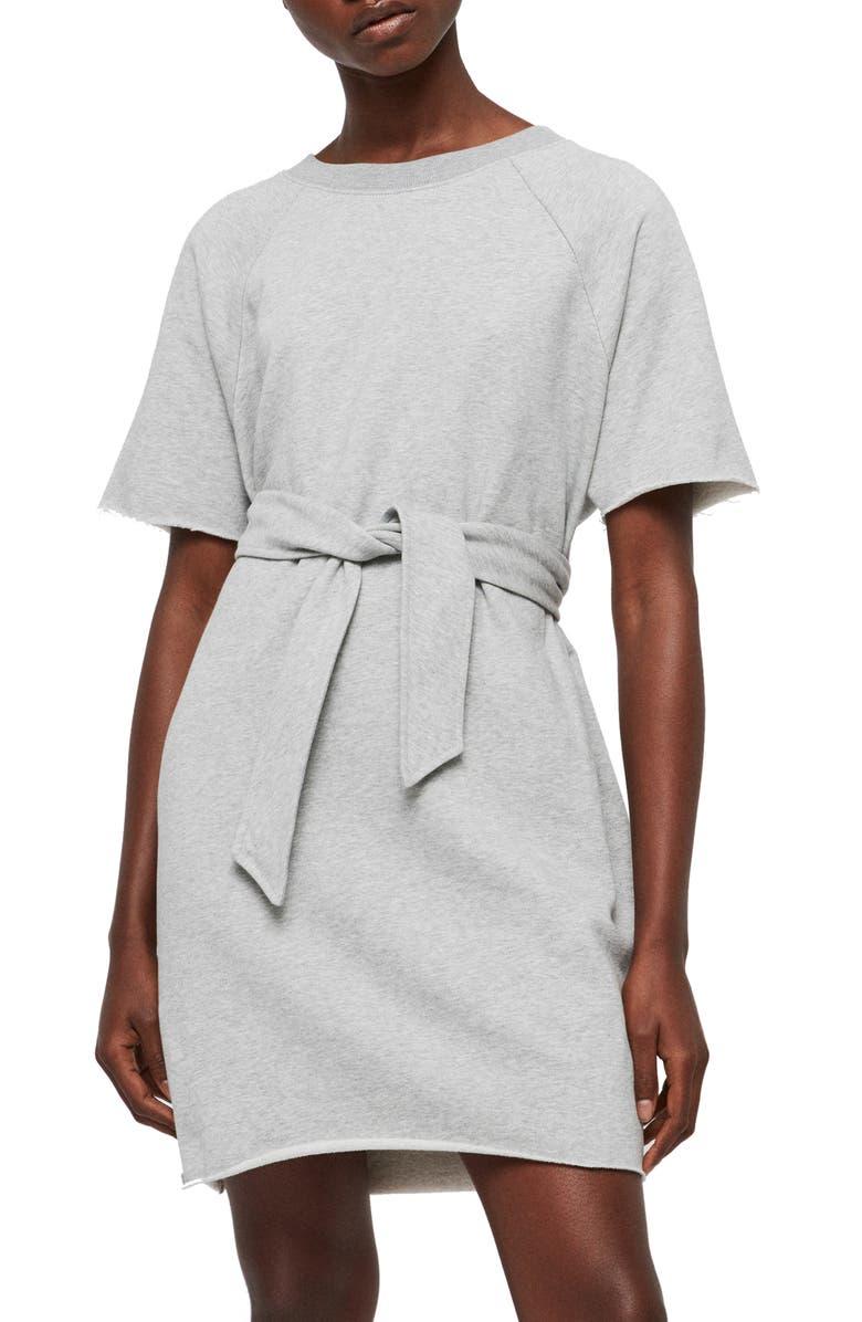 ALLSAINTS Petunia Tie Waist Sweat Dress, Main, color, GREY MARL