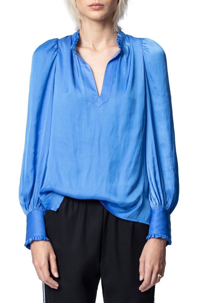 ZADIG & VOLTAIRE Titu Satin Blouse, Main, color, BLEUET
