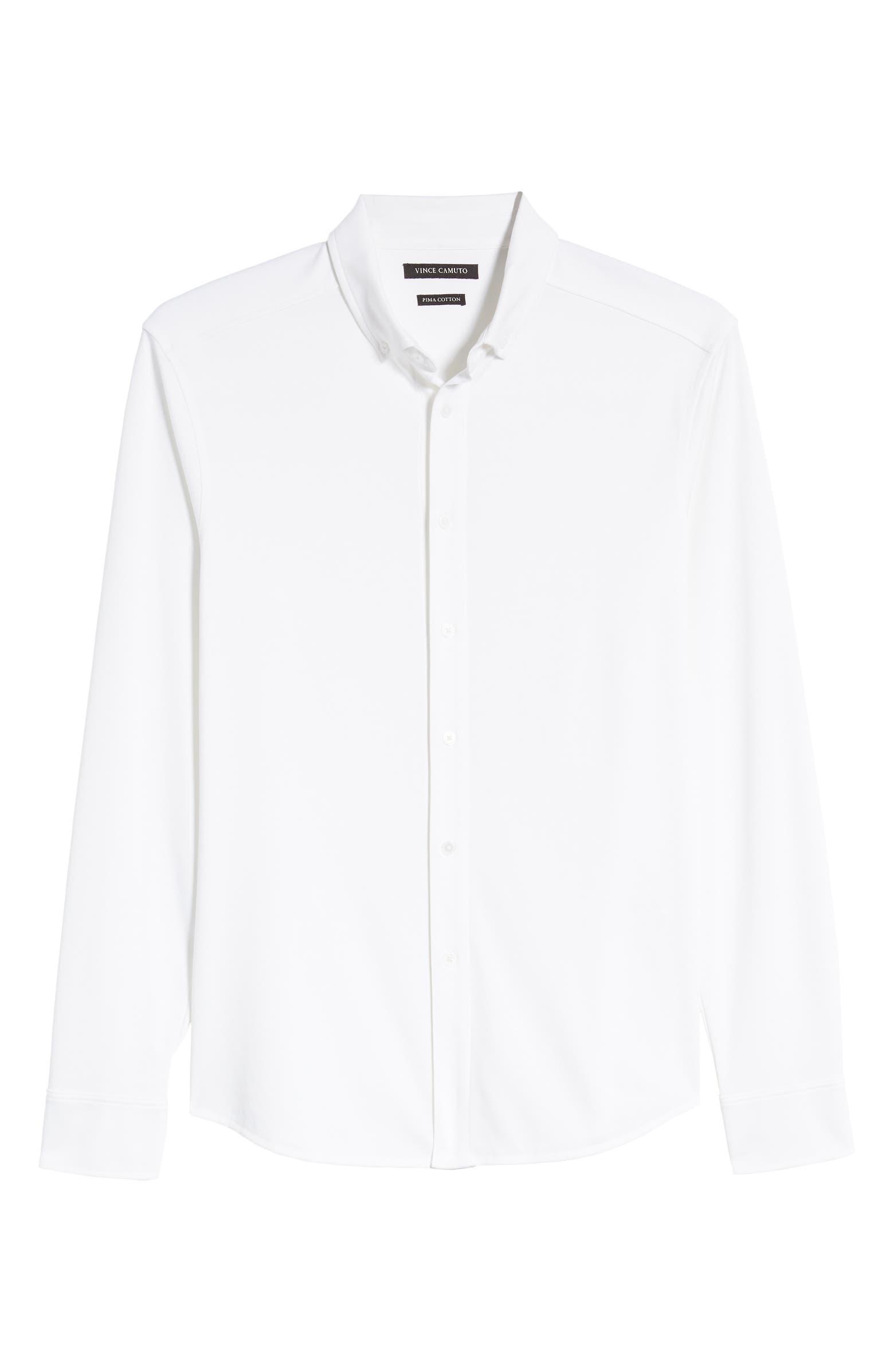 Slim Fit Piqué Knit Button-Down Shirt VINCE CAMUTO
