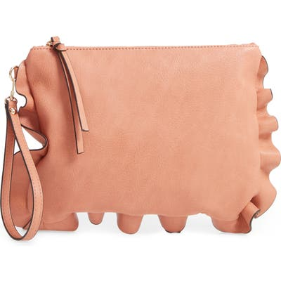 Sole Society Adelina Faux Leather Ruffle Clutch - Brown