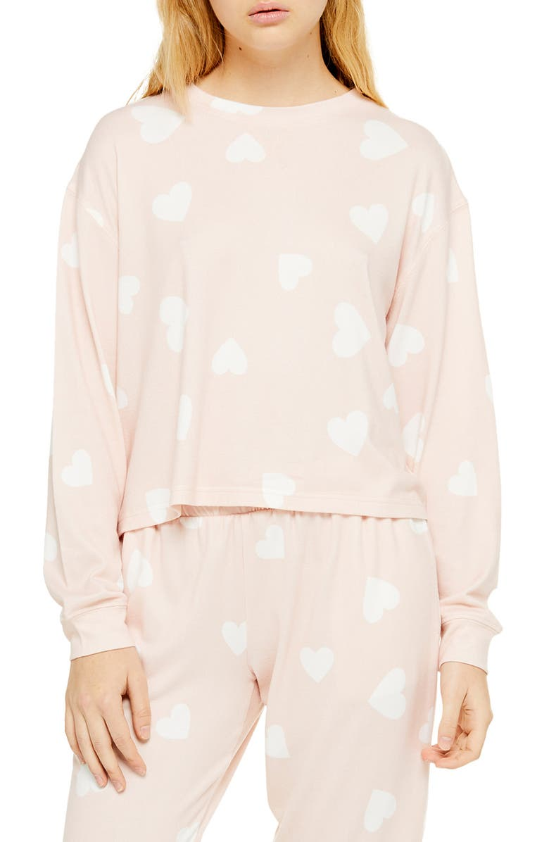 TOPSHOP Supersoft Heart Print Sweatshirt, Main, color, BLUSH