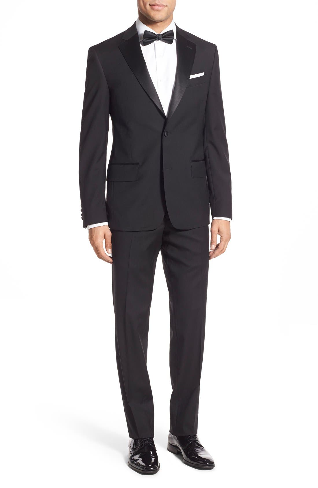 ,                             Trim Fit Wool Tuxedo,                             Main thumbnail 1, color,                             001