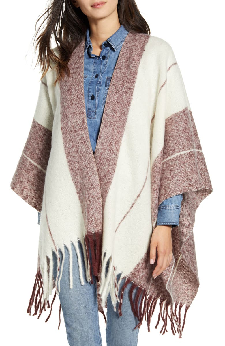 TREASURE & BOND Stripe Blanket Ruana, Main, color, BURGUNDY COMBO