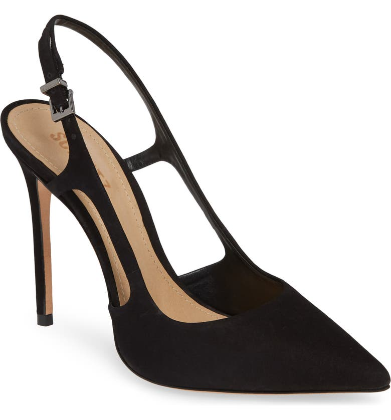 SCHUTZ Boris Slingback Pump, Main, color, BLACK NUBUCK LEATHER