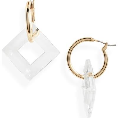 Halogen Crystal Charm Hoop Earrings