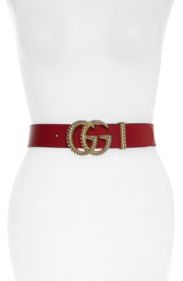GUCCI Textured GG Logo Leather Belt, Main, color, HIBISCUS RED/ RED