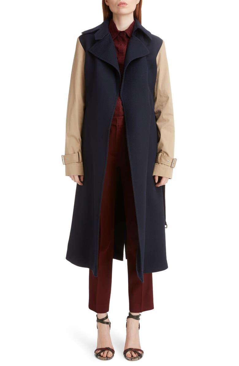 VICTORIA BECKHAM Contrast Sleeve Coat, Main, color, NAVY