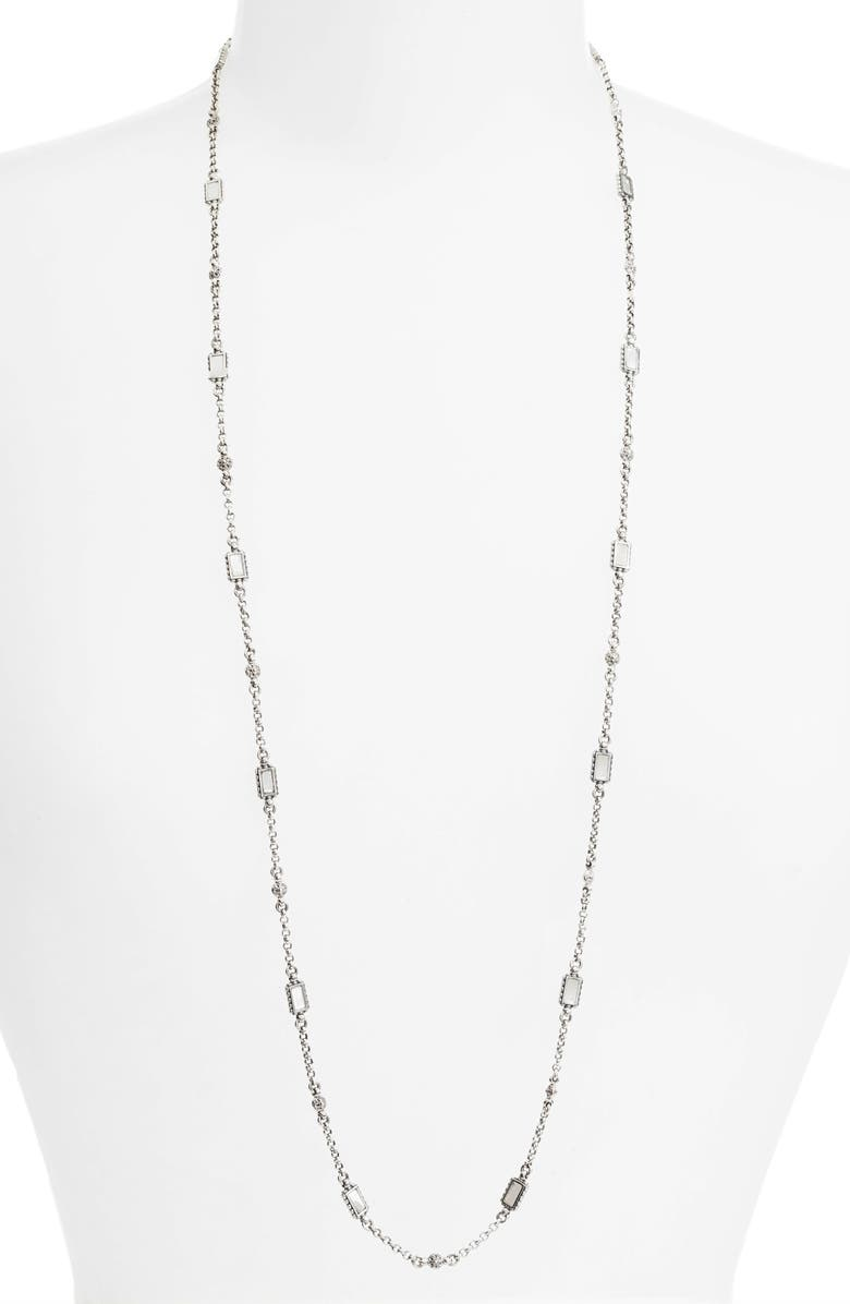 KONSTANTINO Etched Sterling Silver & Mother of Pearl Necklace, Main, color, SILVER/ GOLD/ WHITE