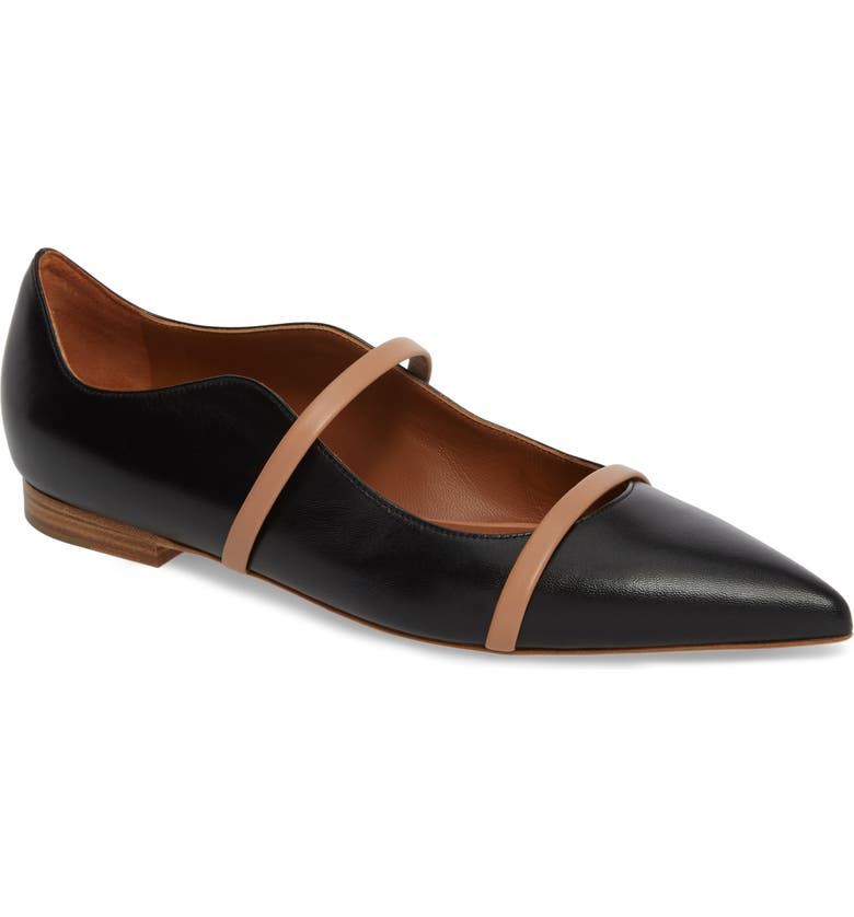 MALONE SOULIERS Pointy Toe Flat, Main, color, BLACK/ NUDE