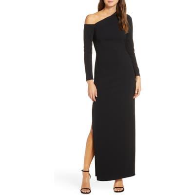 Vince Camuto One-Shoulder Long Sleeve Crepe Gown, Black
