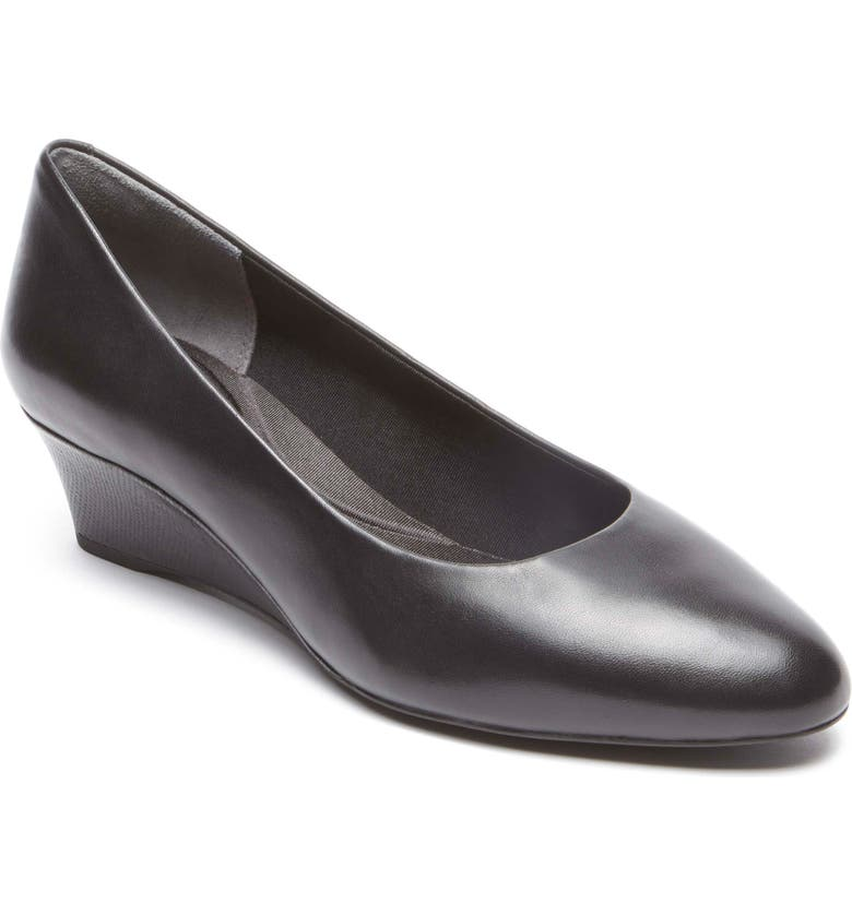 ROCKPORT Total Motion Catrin Wedge Pump, Main, color, BLACK LEATHER