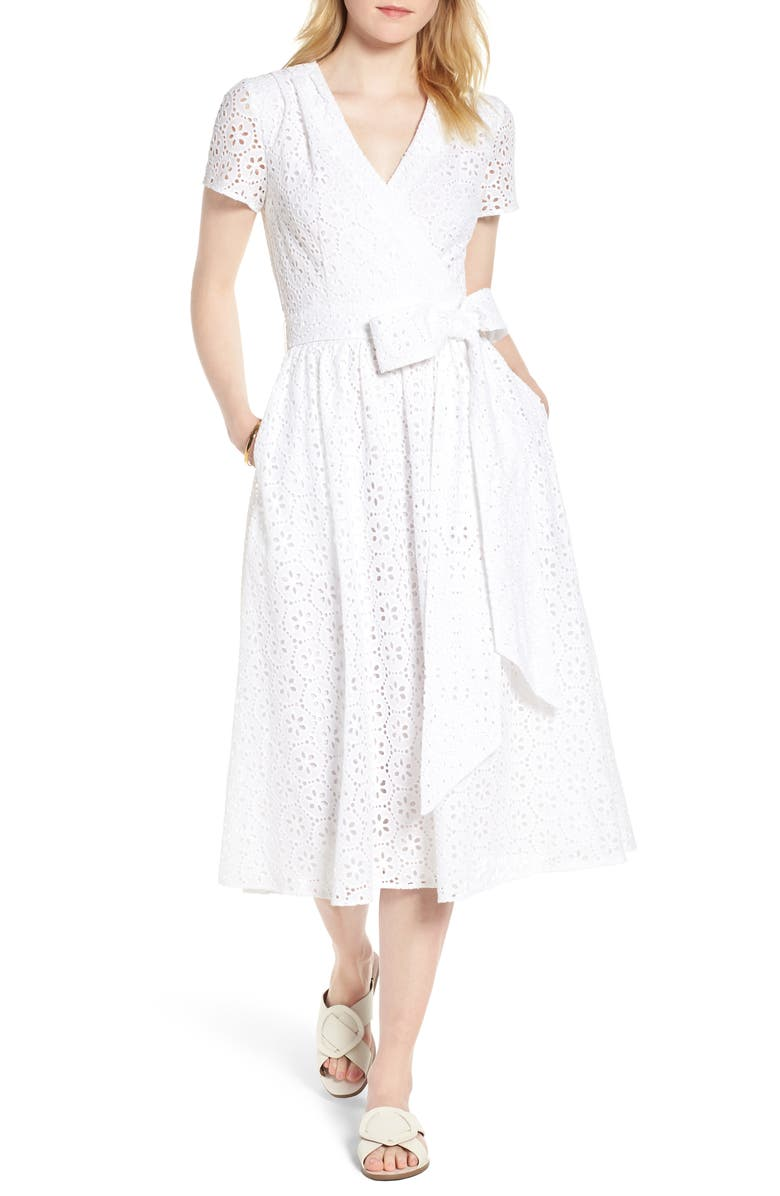 1901 Cotton Eyelet Short Sleeve Dress, Main, color, 100