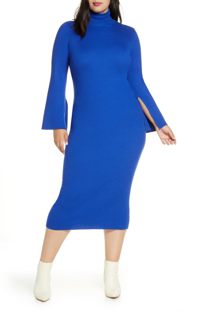 ELOQUII R29 x ELOQUII Long Sleeve Rib Sweater Dress, Main, color, ECLIPSED MOON