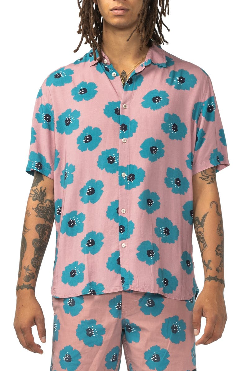 BARNEY COOLS Holiday Flower Print Short Sleeve Button-Up Shirt, Main, color, ROSE HIBISCUS