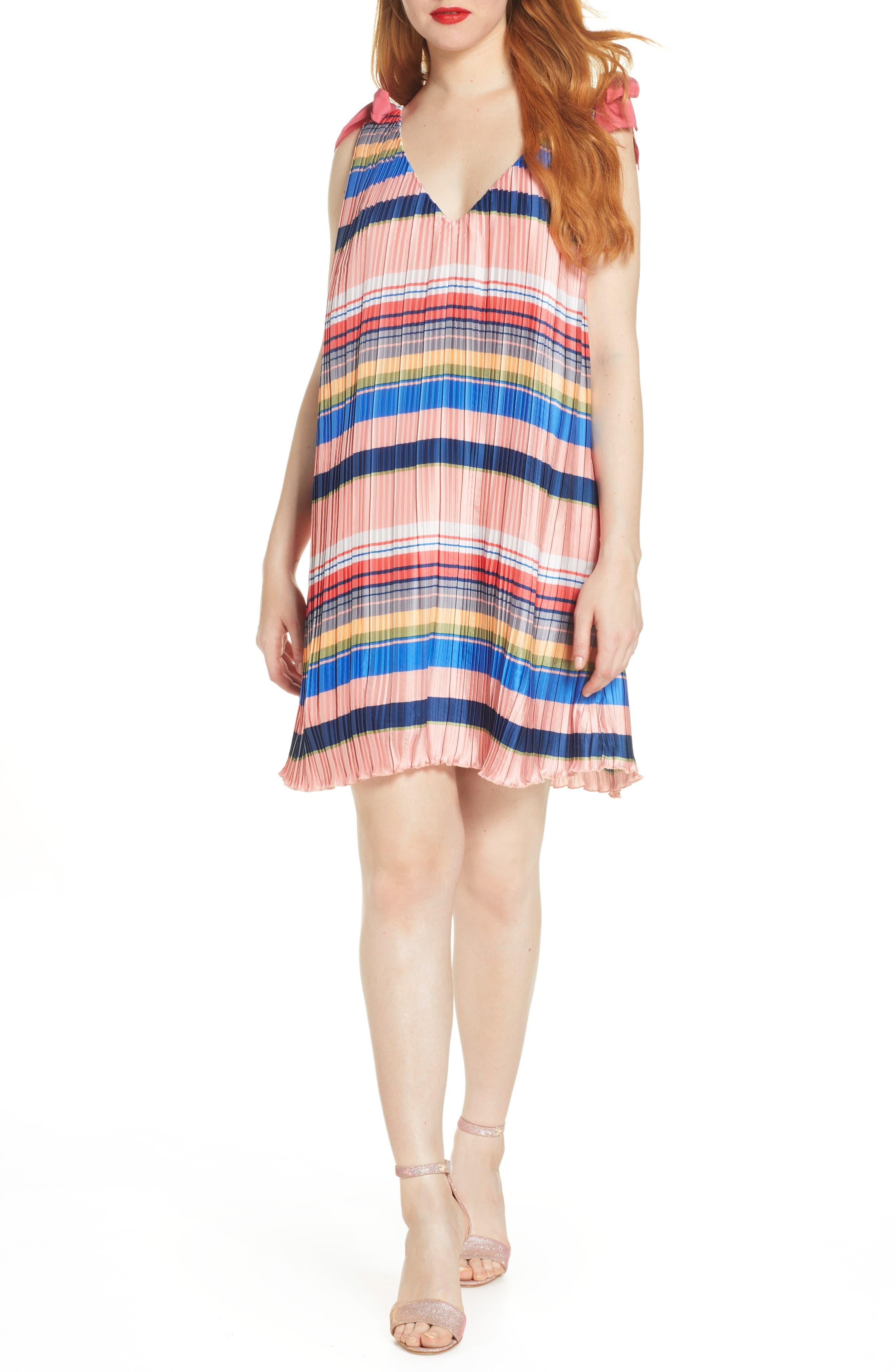 Foxiedox Stripe Pleated Shift Dress, Pink