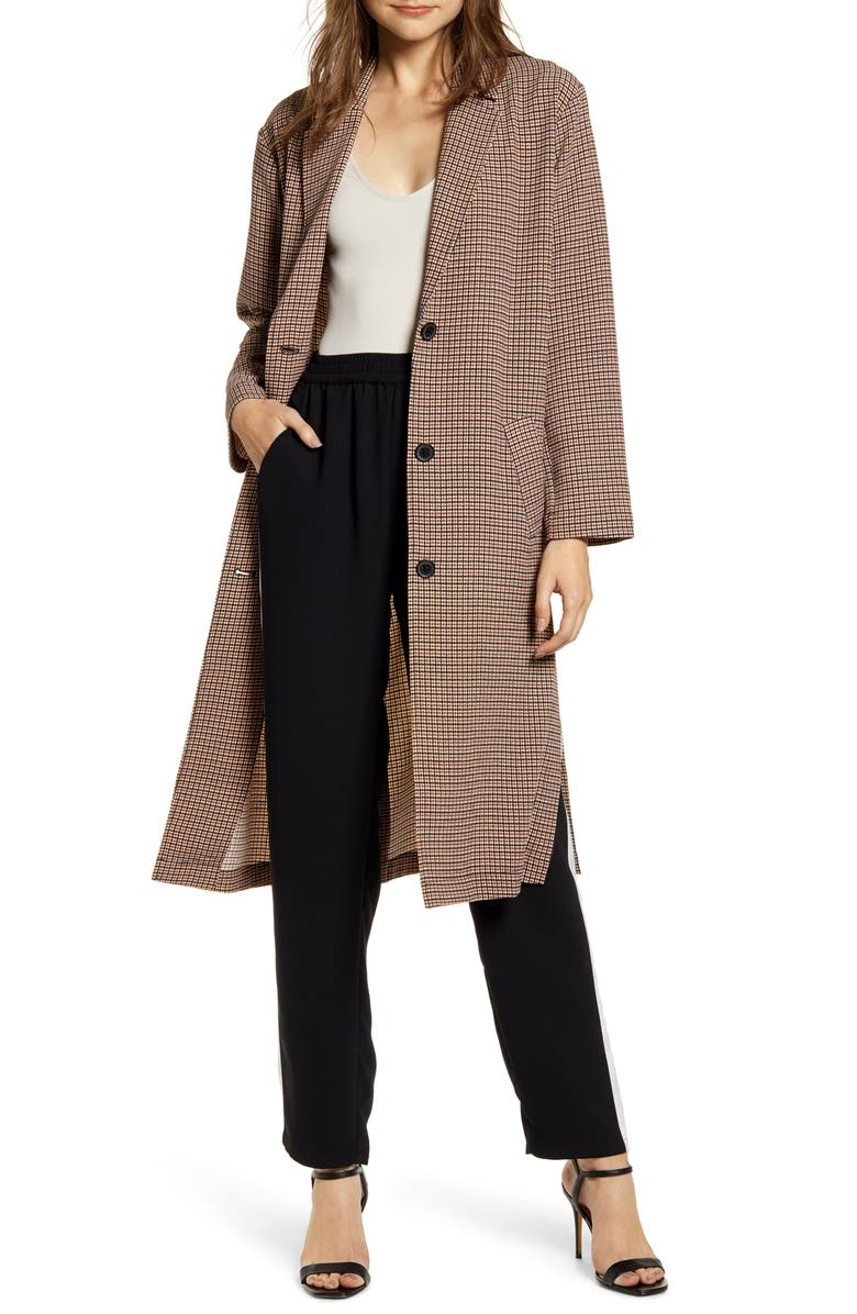 CHELSEA28 Duster Jacket, Main, color, RED FIRE MINI PLAID