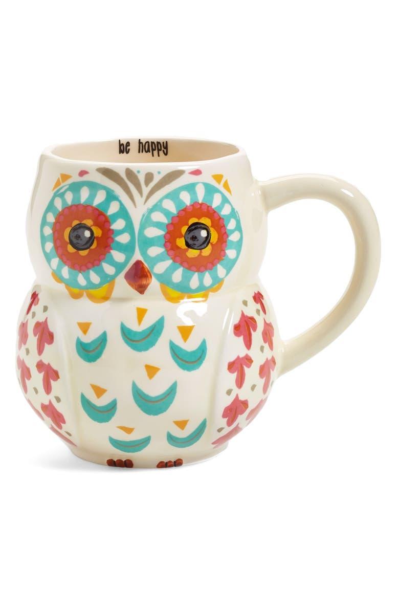 NATURAL LIFE 'Be Happy' 16oz. Owl Mug, Main, color, 100