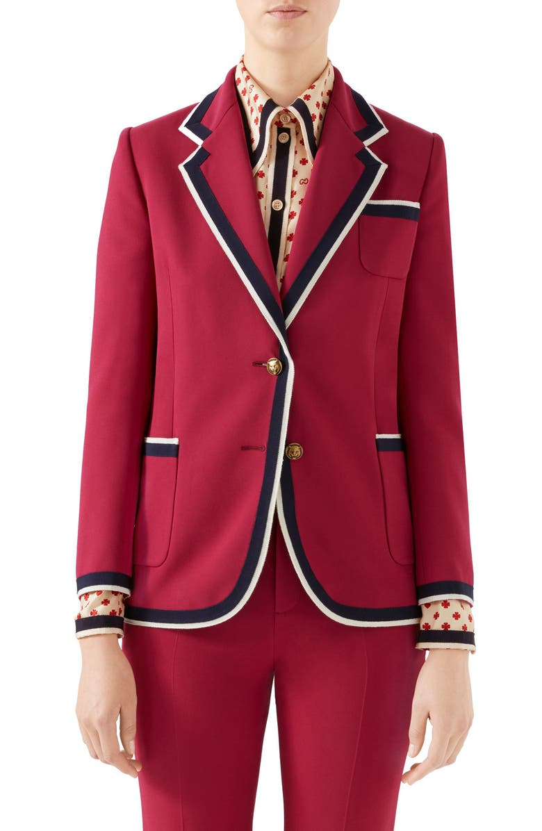 GUCCI Stretch Cady Jacket, Main, color, RASPBERRY CAKE