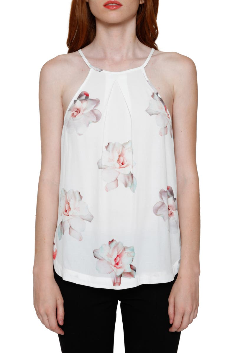 WILLOW & CLAY Floral Print Halter Tank, Main, color, 900