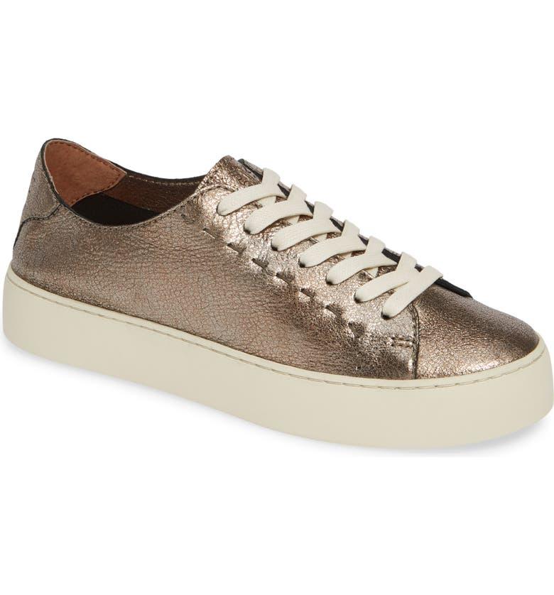FRYE Lena Woven Low Top Sneaker, Main, color, GOLDEN SILVER